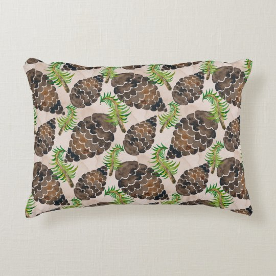 Pine Cones And Pine Branches Decorative Pillow