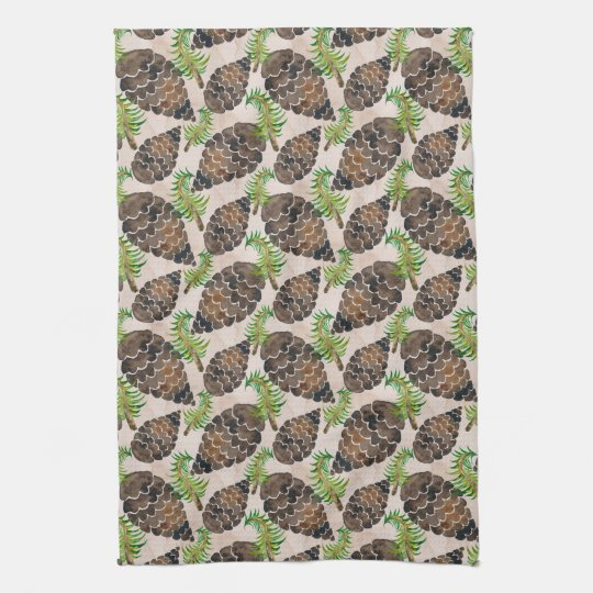 Pine Cones And Pine Branches Kitchen Towel