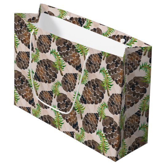Pine Cones And Pine Branches Large Gift Bag