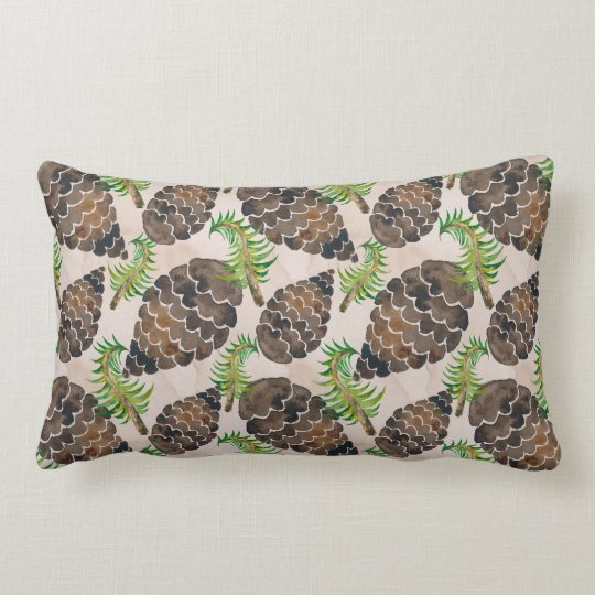 Pine Cones And Pine Branches Lumbar Pillow