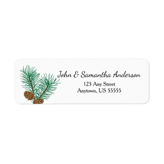 Pine Cones and Pine Branches Return Address Label