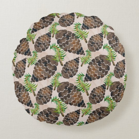 Pine Cones And Pine Branches Round Pillow