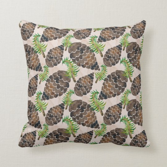 Pine Cones And Pine Branches Throw Pillow