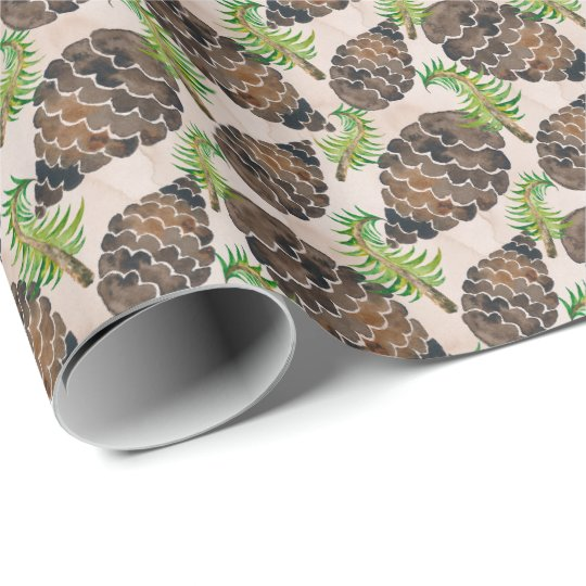 Pine Cones And Pine Branches Wrapping Paper