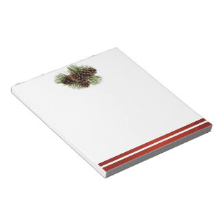 Pine Cones and Red Satin Notepad