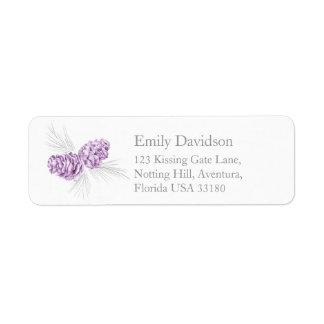 Pine cones art purple grey wedding reply labels