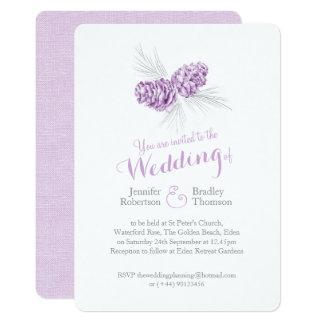 Pine cones art purple grey winter wedding invites