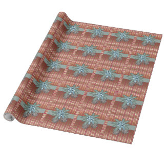 Pine cones - Bow + Stripes - Linen Wrapping Paper