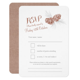 Pine cones brown wedding RSVP Card