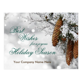 Pine Cones Company Business Holiday Postcard