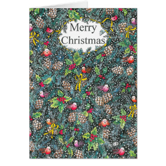 """Pine Cones"" Custom Christmas Card"