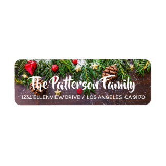 Pine Cones & Holly Return Address Labels