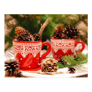 Pine cones in coffee cups postcard