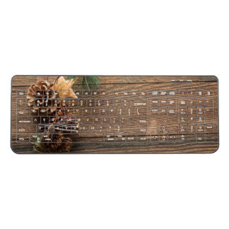 Pine Cones on Wood Wireless Keyboard