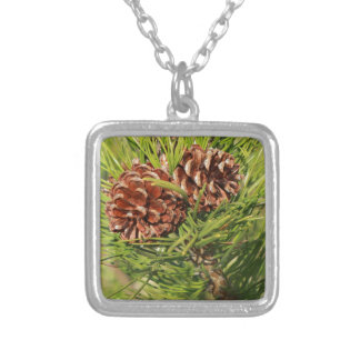 Pine cones silver plated necklace