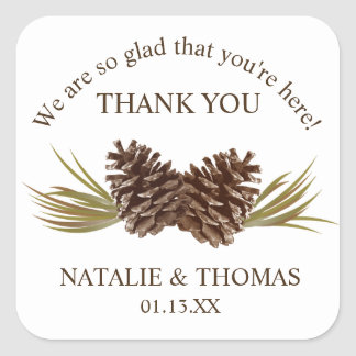 Pine Cones Thank You Gift Sticker