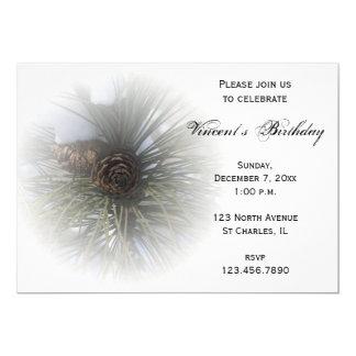 Pine Cones Winter Birthday Party Invitation