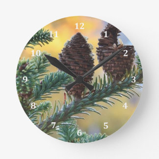 Pine Cones Woodlands Nature Scene Round Clock