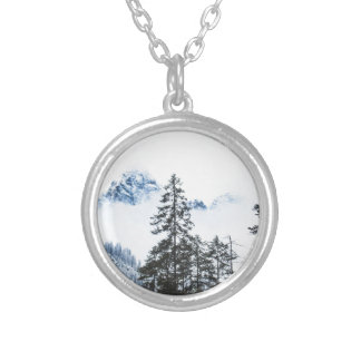 Pine Forest againts Winter Silver Plated Necklace