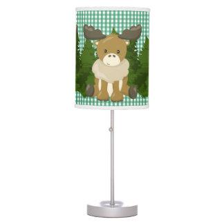 Pine Green Gingham•Arctic Moose•Nursery Table Lamp