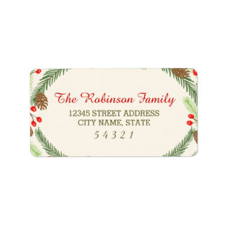 Pine & Holly Address Labels