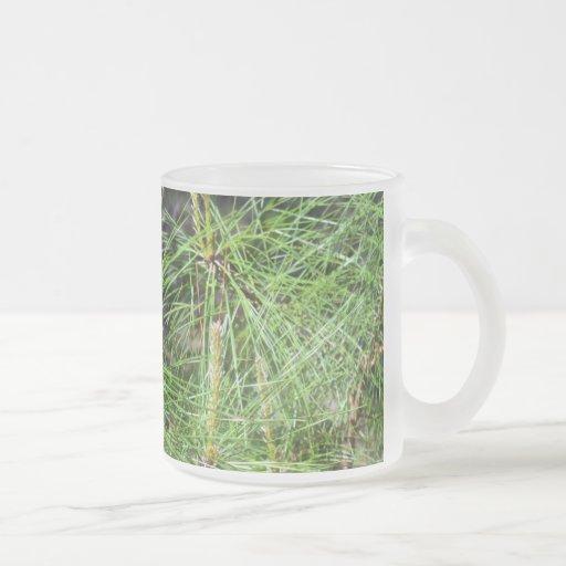 Pine Needles Frosted Glass Mug