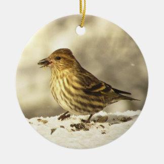 Pine Siskin Ceramic Ornament