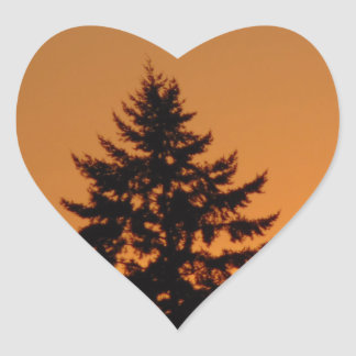 Pine Tree At Sunset Heart Sticker