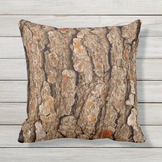 Pine Tree Bark Texture Outdoor Pillow