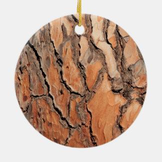 Pine Tree Bark Texture Round Ceramic Ornament