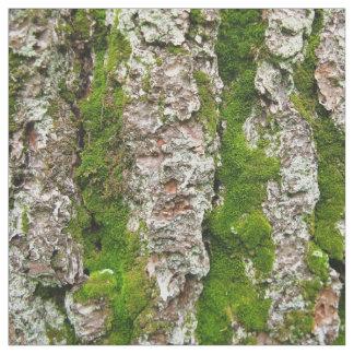 Pine Tree Bark With Moss Photo Fabric