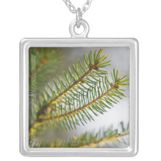 Pine tree branch 2 silver plated necklace