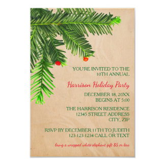 Pine Tree Branch - 3x5 Christmas Party Invitation