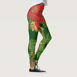 Pine Tree Cones Poinsettia All Over Print Leggings