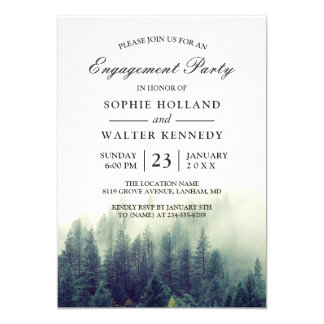 Pine Tree Forest Wedding Shower Engagement Party Card