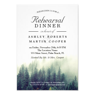 "Pine Tree Forest Winter Wedding Rehearsal Dinner 5"" X 7"" Invitation Card"