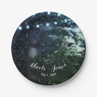 Pine Tree & Lights Winter Night Forest Wedding Paper Plate