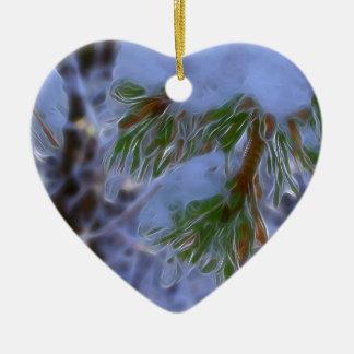 Pine Tree - Lumi Ceramic Heart Ornament