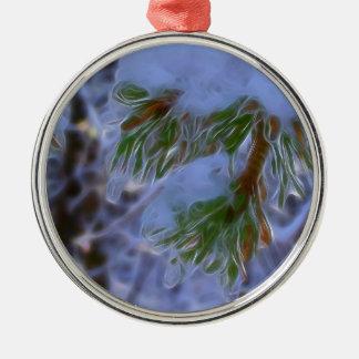 Pine Tree - Lumi Silver-Colored Round Ornament