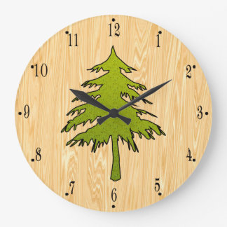 Pine Tree on Wood Background by Julie Everhart Large Clock