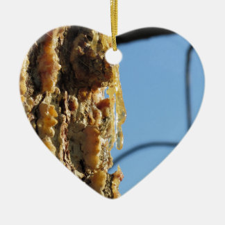 Pine tree resin on the trunk ceramic heart ornament
