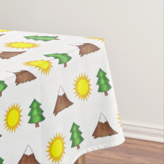 Pine Tree Sun Mountain Climber Hiking Camp Outdoor Tablecloth