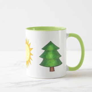 Pine Tree Sun Mountain Climbing Hiking Camp Nature Mug