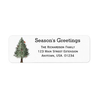 Pine Tree With Cardinal Rustic Christmas Return Address Label