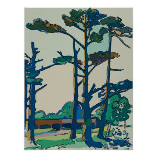 Pine Trees, Abstract Fausim Poster