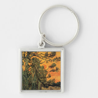 Pine Trees Against a Red Sky Silver-Colored Square Keychain