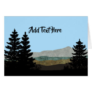Pine Trees and Mountains   Add Your Own Text Card