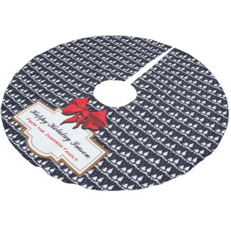 Pine Trees and Snow Happy Holiday Season Family Brushed Polyester Tree Skirt