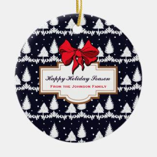 Pine Trees and Snow Happy Holiday Season Family Ceramic Ornament