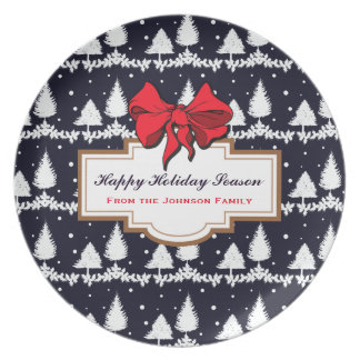 Pine Trees and Snow Happy Holiday Season Family Plate